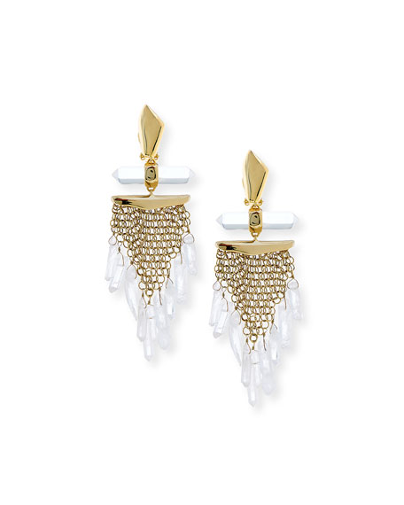 Mesh Wire Clip Earrings with Dangling Rock Crystals