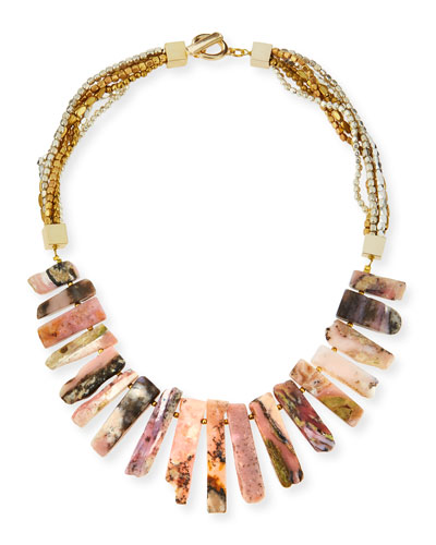 Pink Jasper Stick Collar Necklace