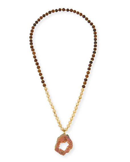 Panacea Wooden Bead Necklace with Druzy Pendant, Peach