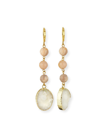 Linear Druzy Drop Earrings, Neutral/White