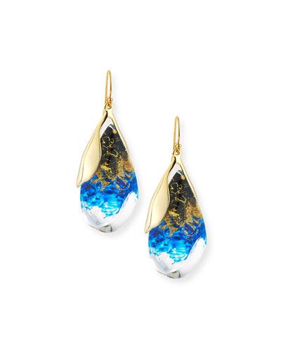 Suspended Teardrop Lucite Earrings, Indigo/Ink/Clear