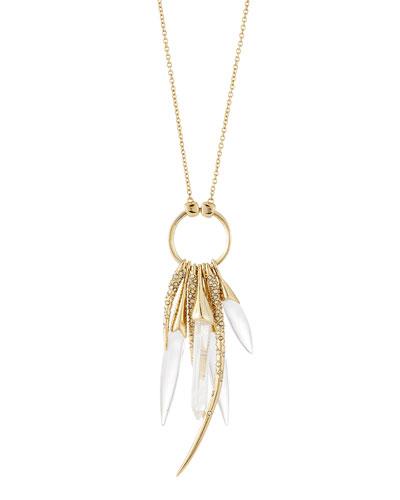 Rock Crystal Burst Pendant Necklace, 32
