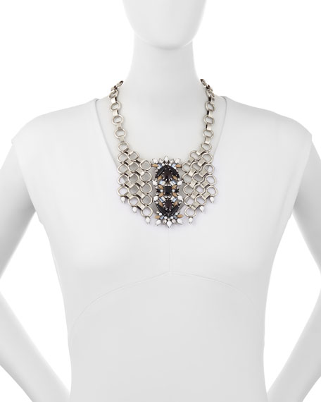 Alessio Crystal Circle-Link Bib Necklace