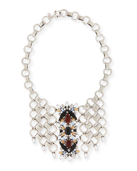 Dannijo Alessio Crystal Circle-Link Bib Necklace
