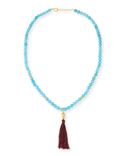 Shanti Turquoise Agate Tassel Necklace