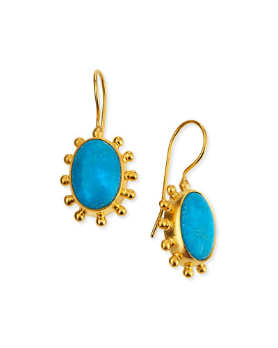 Turquoise Pinwheel Drop Earrings