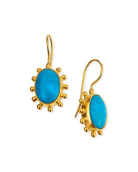 Turquoise Pinwheel Drop Earrings