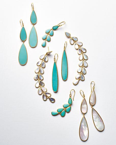 18K Rock Candy Double-Drop Turquoise Earrings