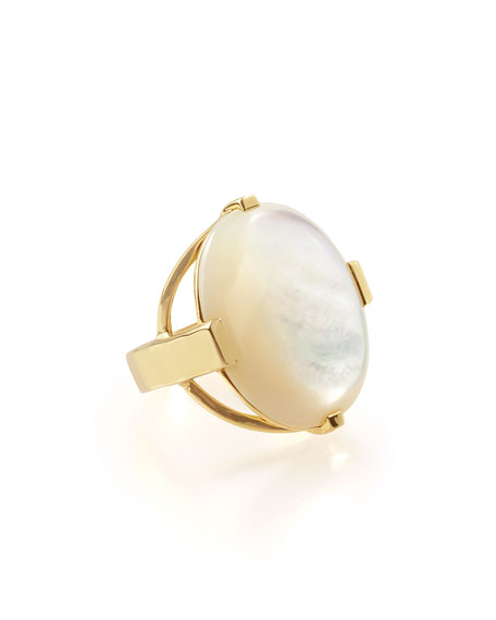 18K Polished Rock Candy Large Mother-of-Pearl Oval Ring