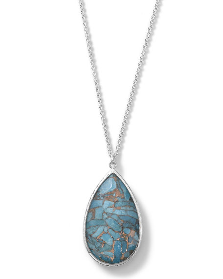 925 Rock Candy Turquoise Pear Pendant Necklace