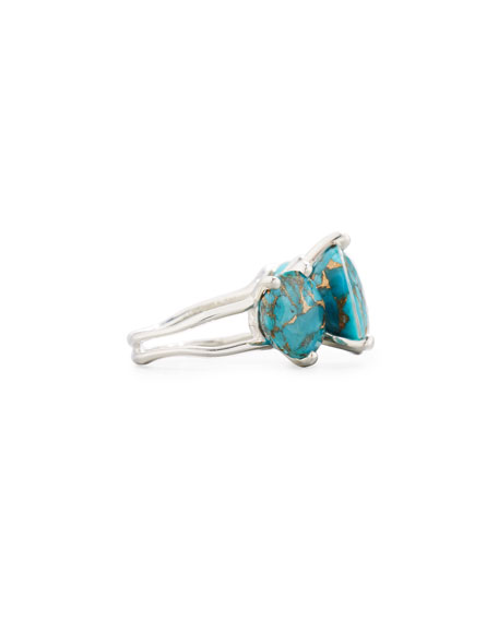 Ippolita 925 Rock Candy Three-Stone Turquoise Ring, Size 7