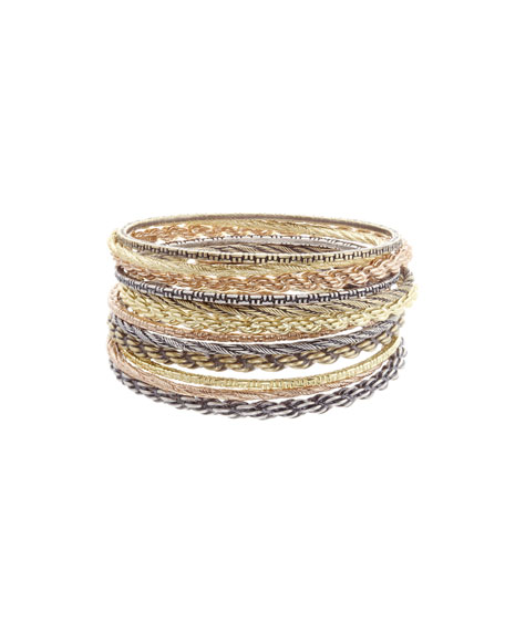 Shallon Mixed-Metal Stacking Bracelets, Set of 12