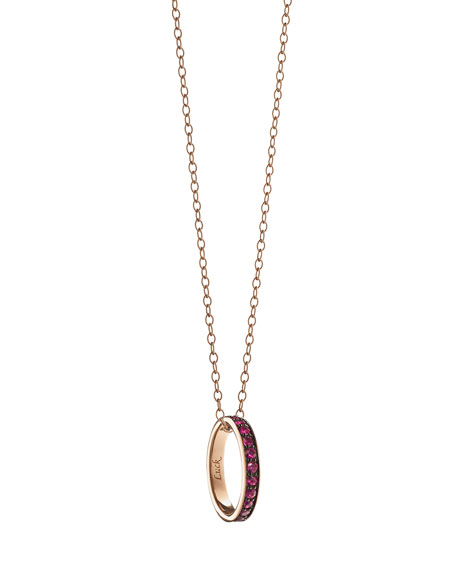 "18K Ruby ""Luck"" Poesy Ring Pendant Necklace"