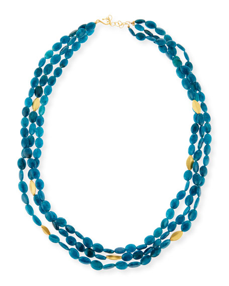 Dina Mackney Blue Apatite Multi-Strand Necklace, 36