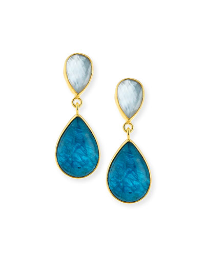 Apatite Doublet Teardrop Earrings