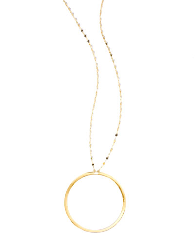14K Gold Hoop Pendant Necklace