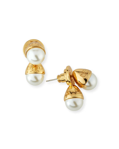 Pearly Bud Jacket Earrings, Ivory/Gold
