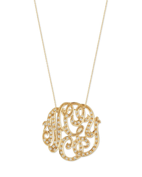 Ginette Lab Medium 14K Diamond Lace Monogram Necklace