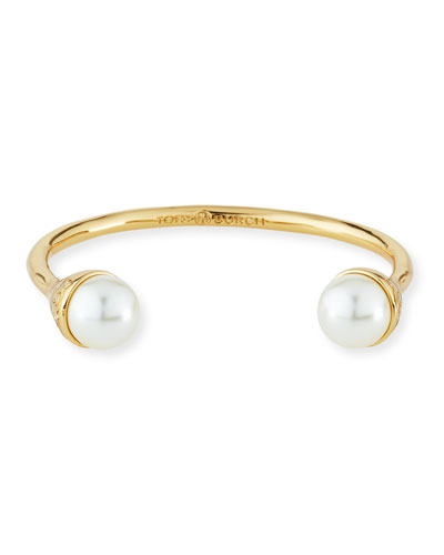 Pearly Bud Cuff Bracelet, Ivory/Gold