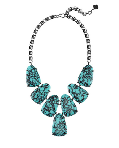 Harlow Teal Magnesite Statement Necklace