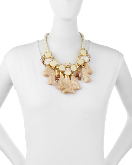 Lele Sadoughi Tassel Station Statement Necklace, Petal White