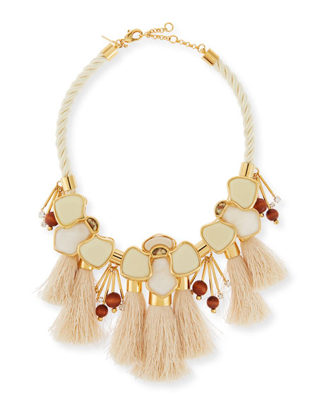 Tassel Station Statement Necklace, Petal White