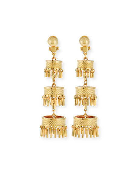 Golden Pagoda Statement Earrings