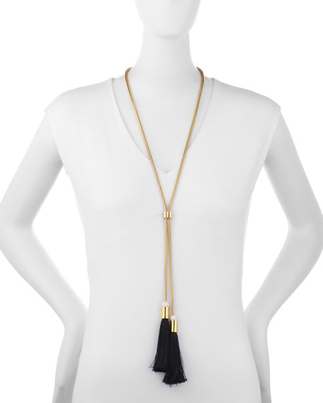 Long Straw Tassel Snake Chain Necklace, Black
