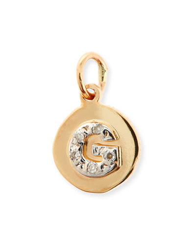 Personalized Small Circle Charm with Diamonds