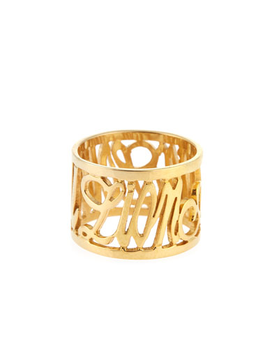 Personalized 14K Yellow Gold Note Ring