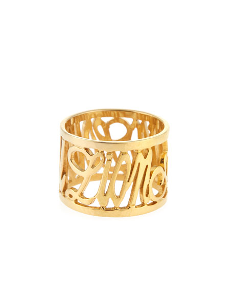 Jennifer Creel Personalized 14K Yellow Gold Note Ring