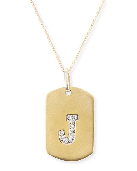 Jennifer Creel Pavé Diamond Initial Pendant Necklace in 14K Gold Ws5cFA