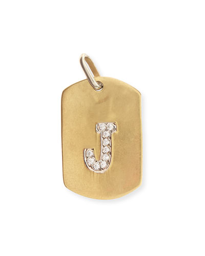 14K Gold Dog Tag with Pave Diamond Initial