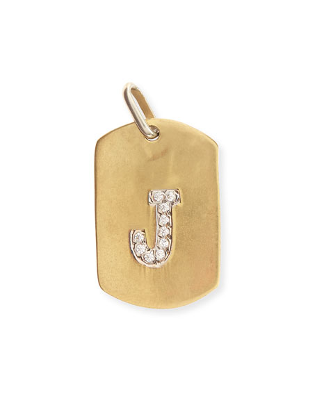 Jennifer Creel Pavé Diamond Initial Pendant Necklace in 14K Gold