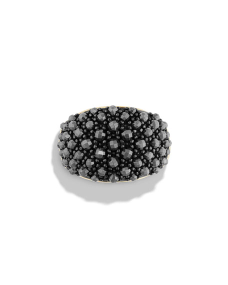 Cable Berries 18K Faceted Hematine Dome Ring