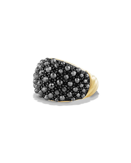 David Yurman Osetra 18K Faceted Hematine Dome Ring