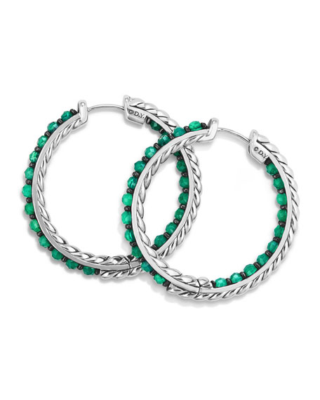 David Yurman Osetra Faceted Green Onyx Hoop Earrings
