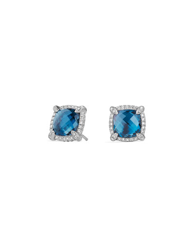 9mm Châtelaine® Stud Earrings with Blue Topaz & Diamonds