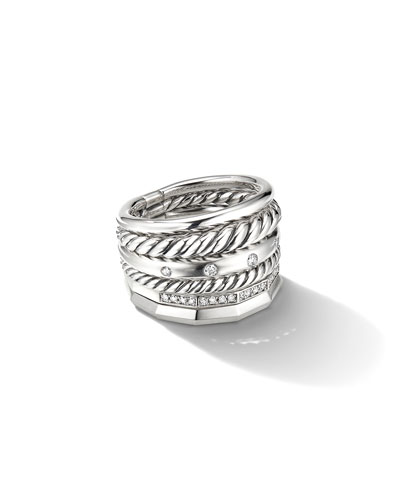 16mm Stax Wide Stacked Ring with Diamonds
