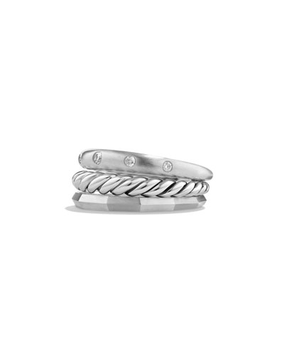 9mm Stax Narrow Ring with Diamonds