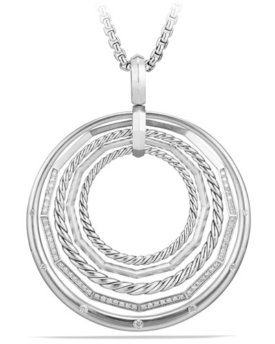 Stax Large Round Pendant Necklace with Diamonds