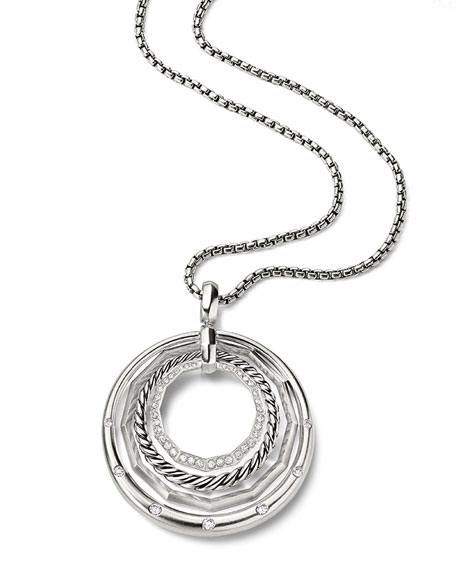 Stax Round Pendant Necklace with Diamonds