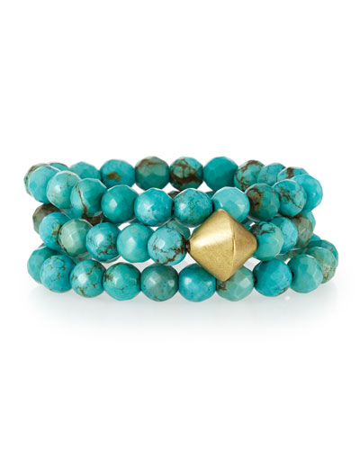 Faceted Turquoise Stretch Bracelets, Set of 3