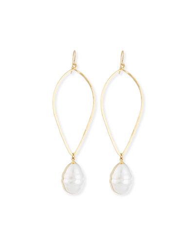 14K Gold-Plate Baroque Pearl Drop Earrings