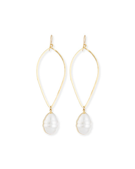 14K Gold-Plate Baroque Pearl Drop Earrings