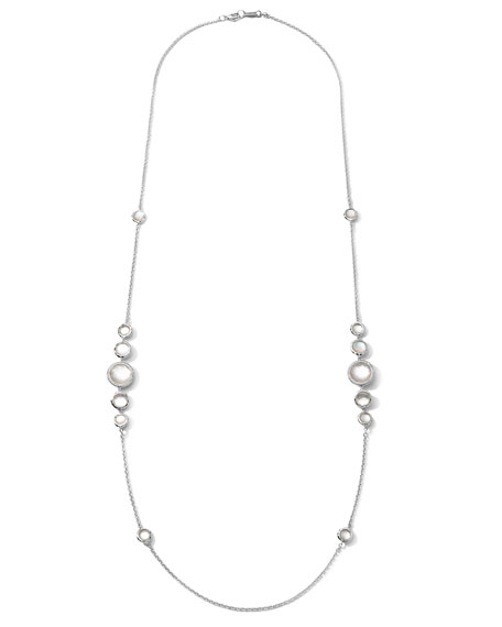 """Stella Mother-of-Pearl & Diamond Station Necklace, 37"""""""