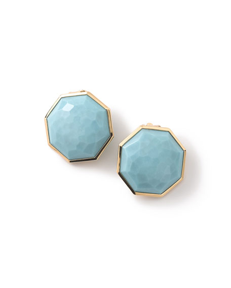 Ippolita 18K Rock Candy Turquoise Clip-On Button Earrings
