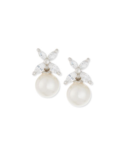 8mm Round Pearl & Marquis CZ Crystal Earrings