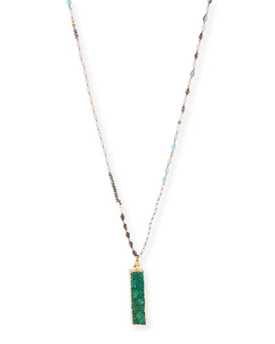 Glory Long Beaded Druzy Pendant Necklace