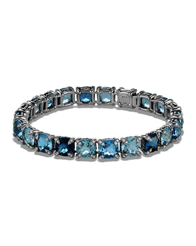 7mm Châtelaine® Linear Blue Topaz Bracelet with Diamonds